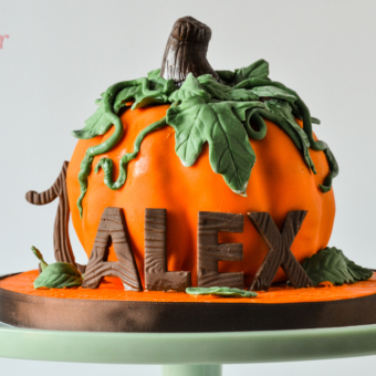Pumpkin smash cake with stem, leaves, vines, name and #1 in woodgrain