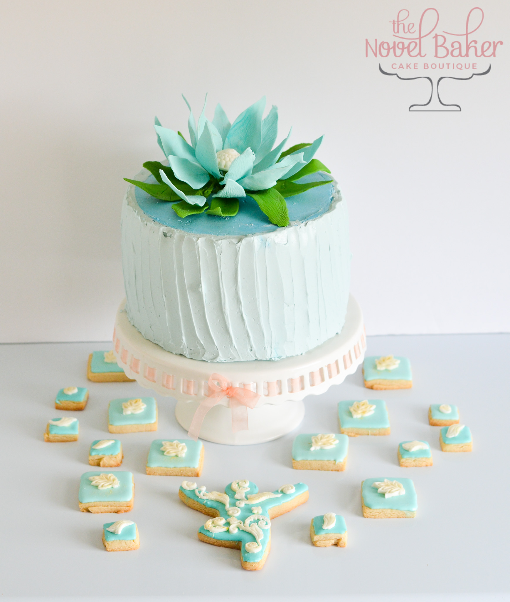 Large Gumpaste Lotus Topper, Rustic Blue Buttercream Cake