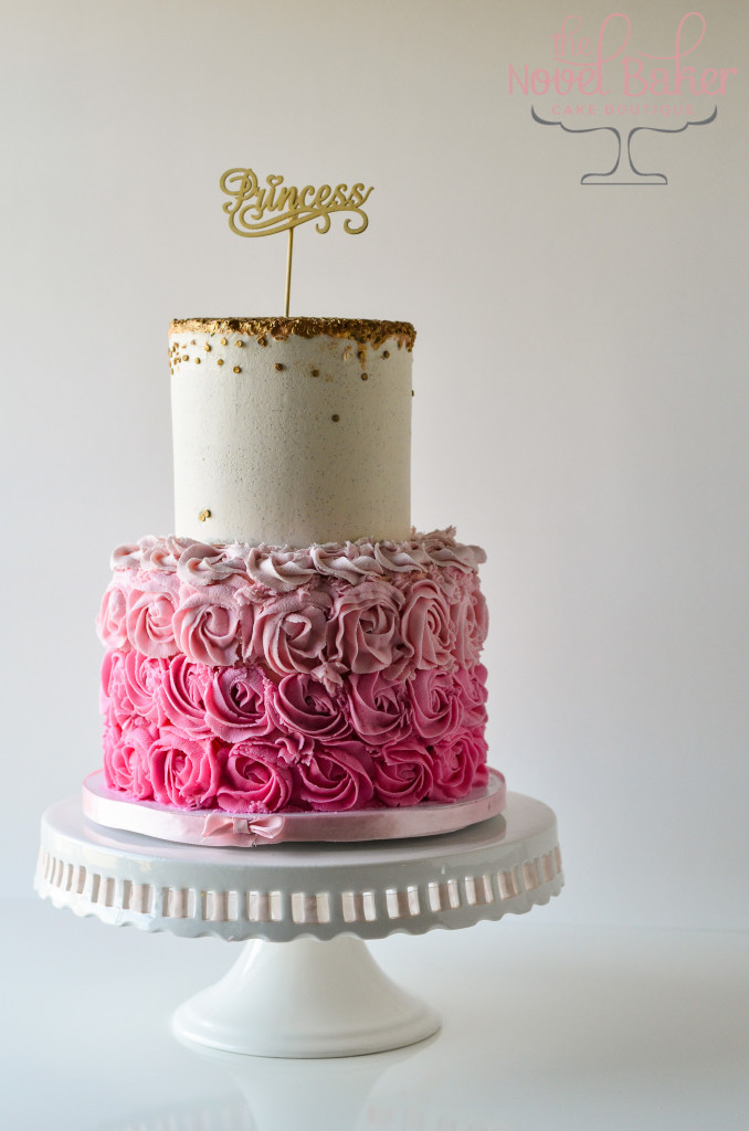 Ombre Rosettes in Pink Hues, Gold Quins and a Princess Topper.
