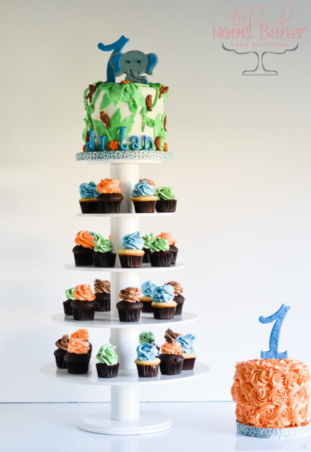 Cupcake Tower in Primary Colors with Baby Elephant Topper Cake  and Smash Cake