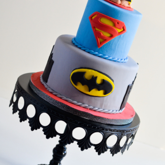 SuperHero Baby Shower Cake with sleeping baby topper
