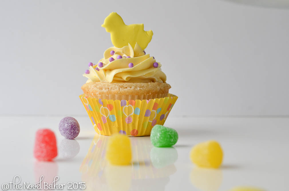 Yellow Cupcake with Yellow chick and pastel dotted liner