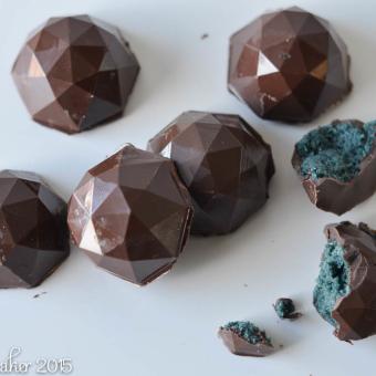 Dark Chocolate Dipped Blue Velvet Cake Gems