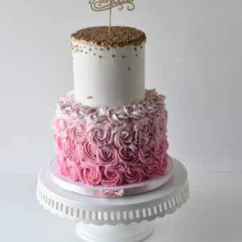 Pink Ombre Rosette bottom tier, with white top tier sprinkles with gold painted sequins