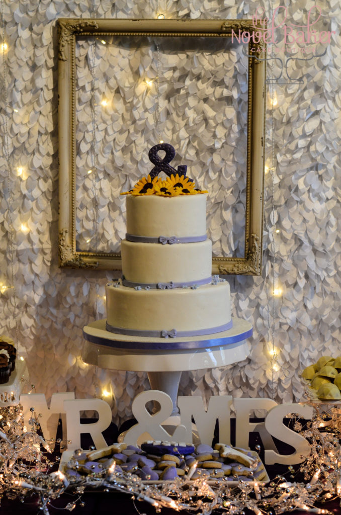 Picture Perfect Art-Center Wedding Cake with Sunflowers Framed like a Picture