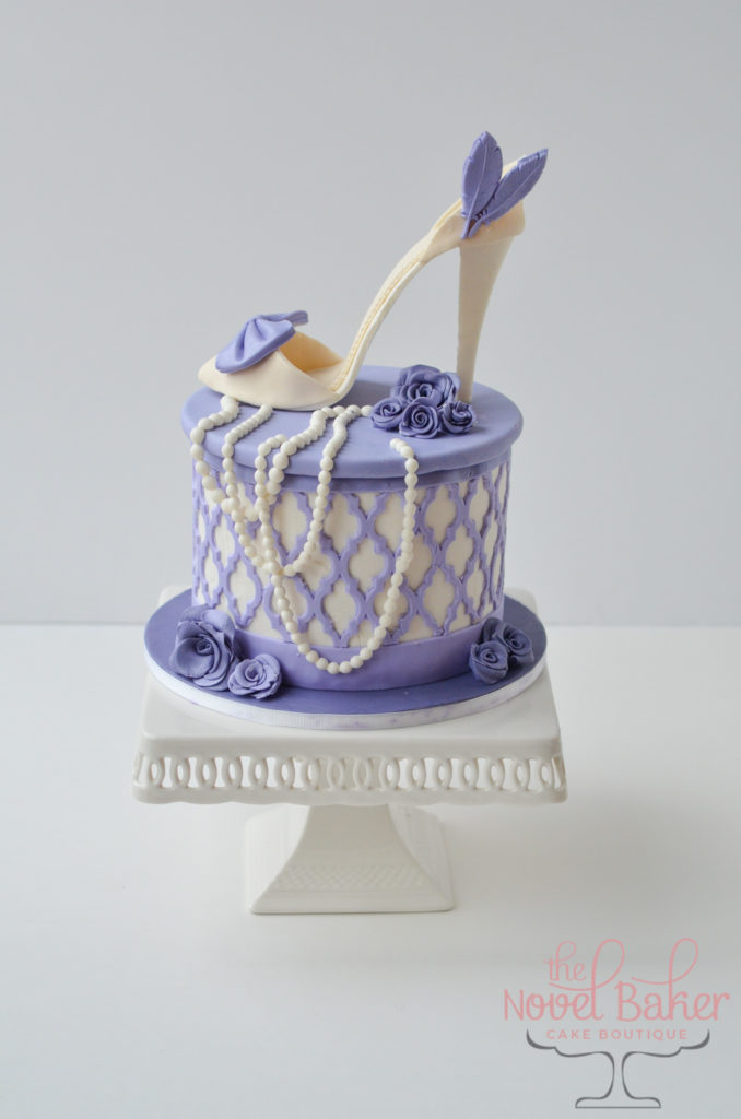 High-Heel Hatbox Cake in Lavender