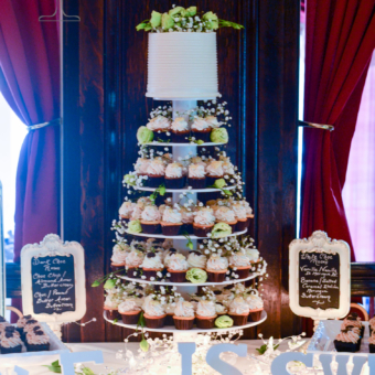 White Bridal Cupcake Tower with Flowers