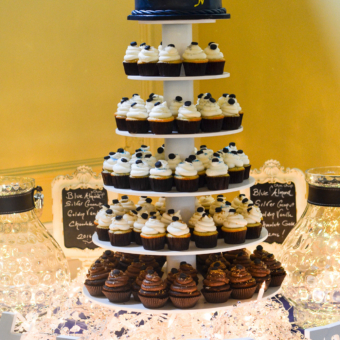 Hockey Grad Cupcake Tower with Navy & Gold Hockey Topper Cake