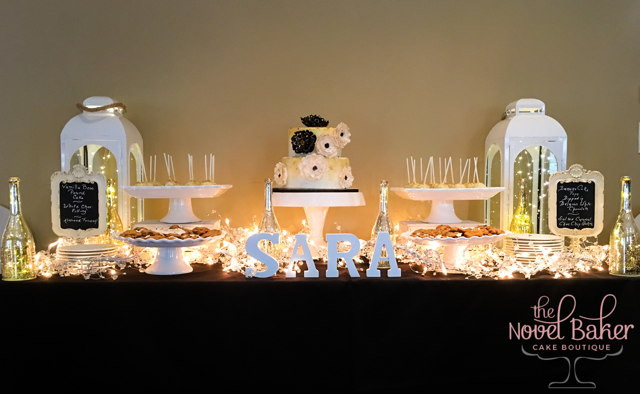 BlackWhiteGold Sweet Table 60th Birthday Party 2 Tier Cake, White & Gold Cake Pops
