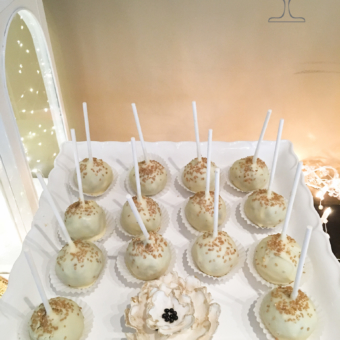 White Cake Pops with Gold Sugar