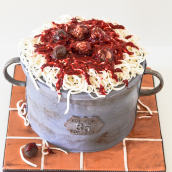 Spaghetti Pot Cake, Terra Cotta Tile Board