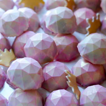 Plate of Pink Princess Gems: White Belgian Chocolate dusted with pink and gold