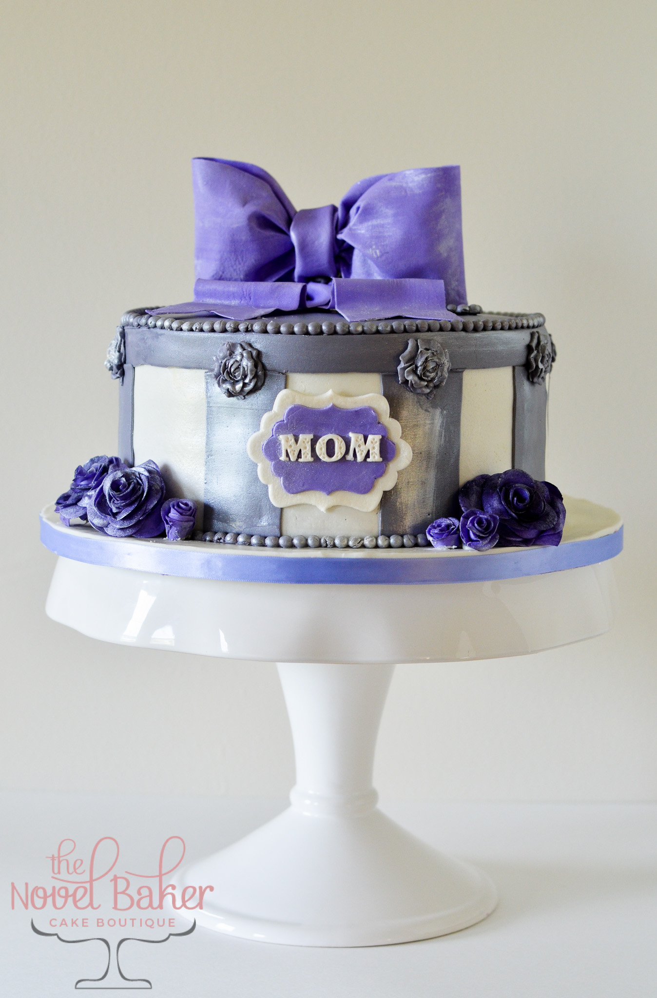 Purple & Gray HatBox Cake, Mom Plaque, Gray Stripes, Purple Roses. Purple Cupcakes with Gray Roses on Purple Frosting.