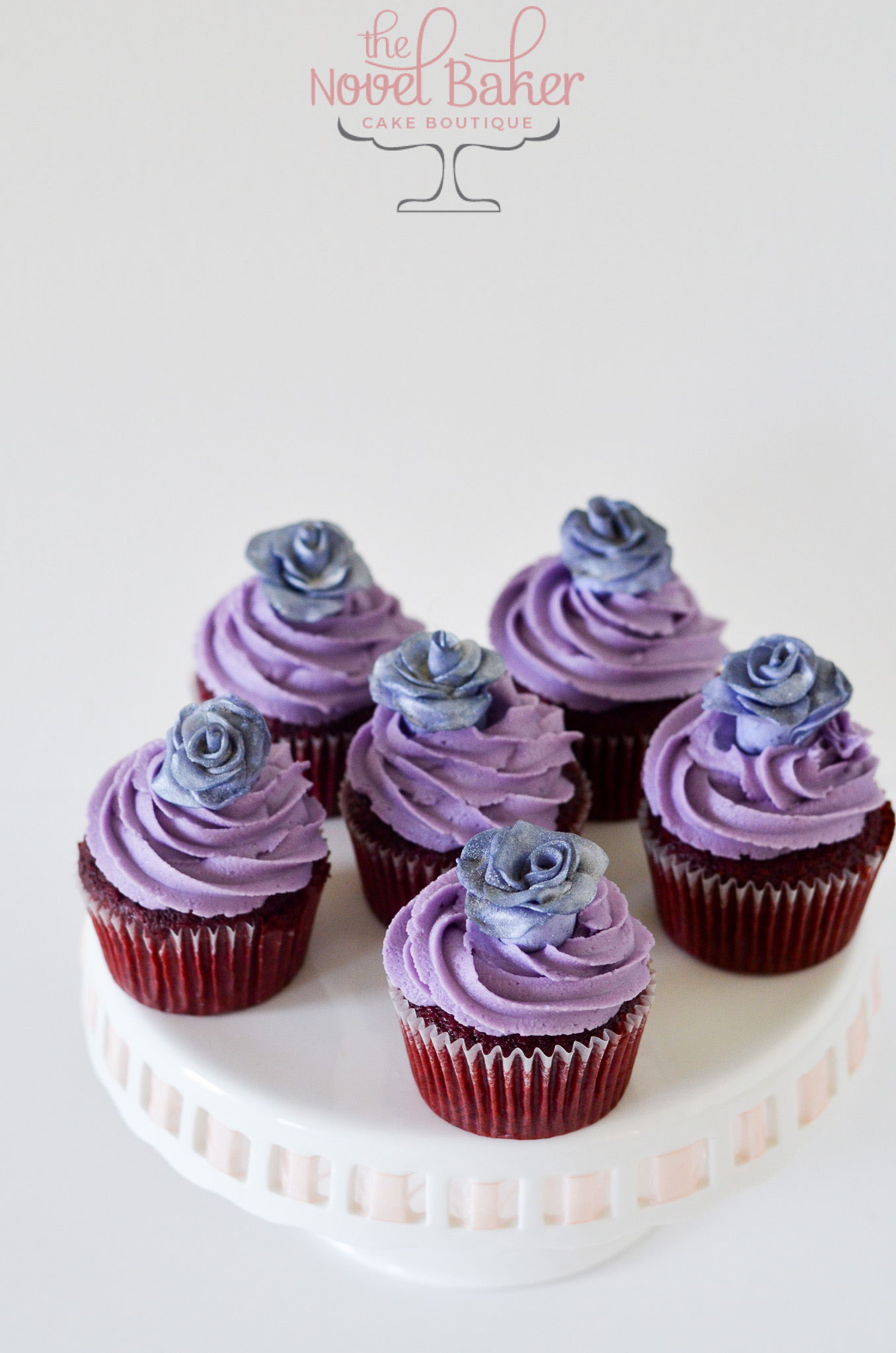 Purple Frosted Cupcakes with Gray companion to HatBox Cake with Gray Stripes, Purple Roses