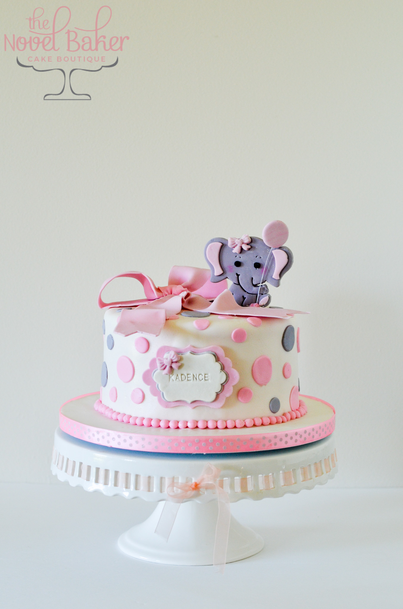 Gray Elephant 1D Topper with Balloon, Pink Bow, Gray and Pink Circles