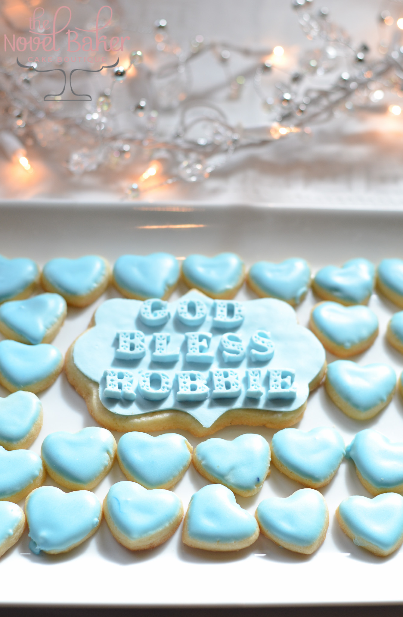 Baby Blue Sugar Cookies with Name Plaque Cookies