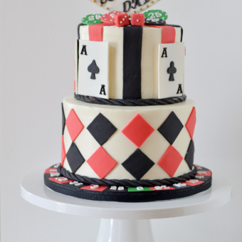 Aces, Dice, Chips, Roulette Wheel adorn this Vegas Style Cake