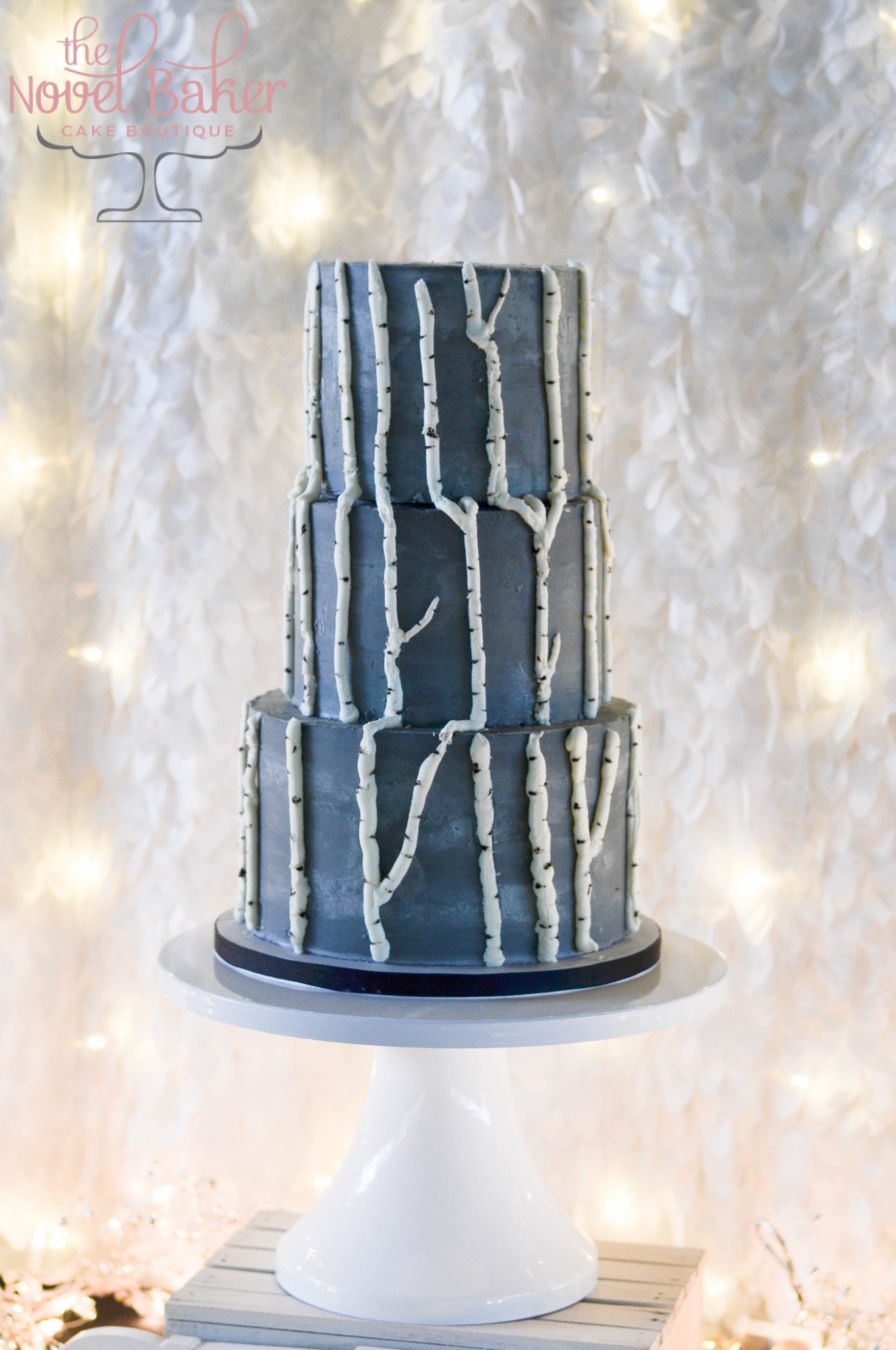 Aspen Cake in Dark Gray Buttercream with Bas Relief Aspen Tree Branches traveling upward through all 3 tiers