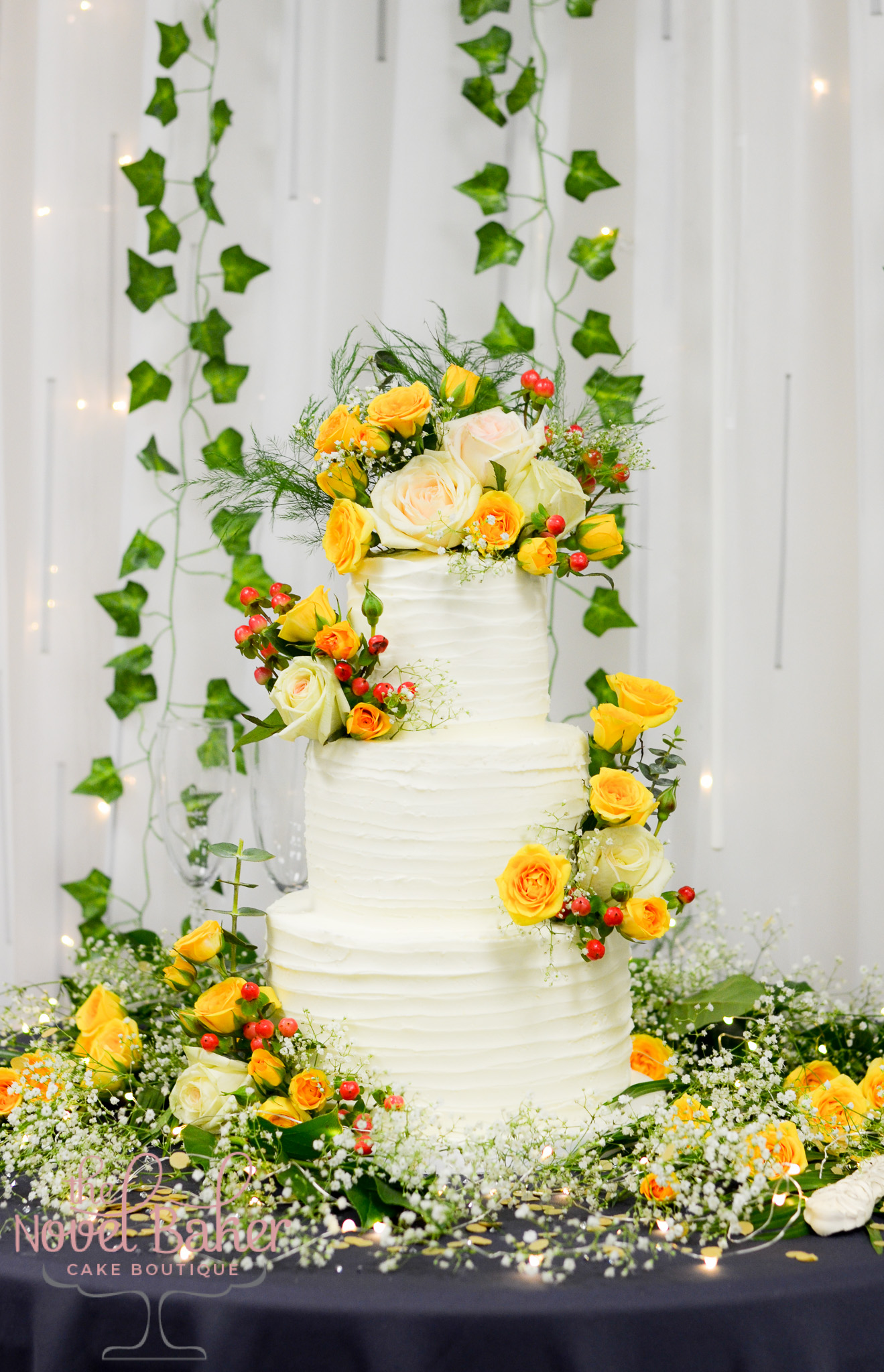 3-Tier Wedding Cake with fresh yellow roses
