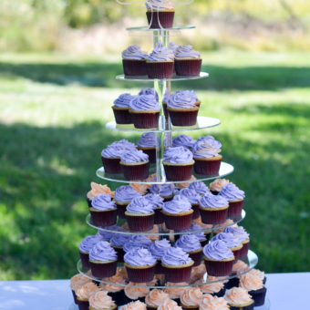 Cupcake tower with lavender cupcakes outdoor
