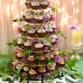 Cupcake Tower with Ferns